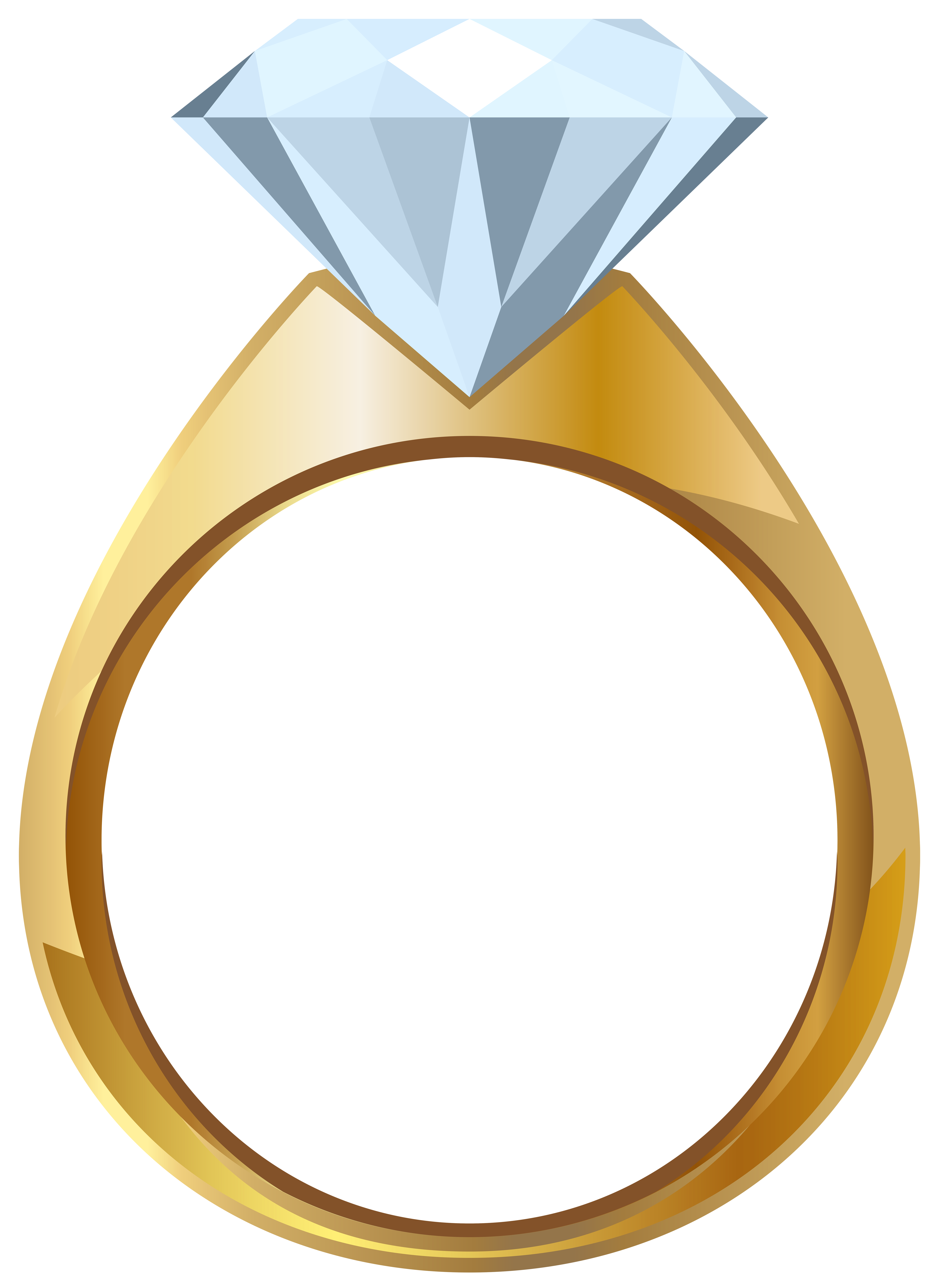 Gold Engagement Ring PNG Transparent Clip Art Image.