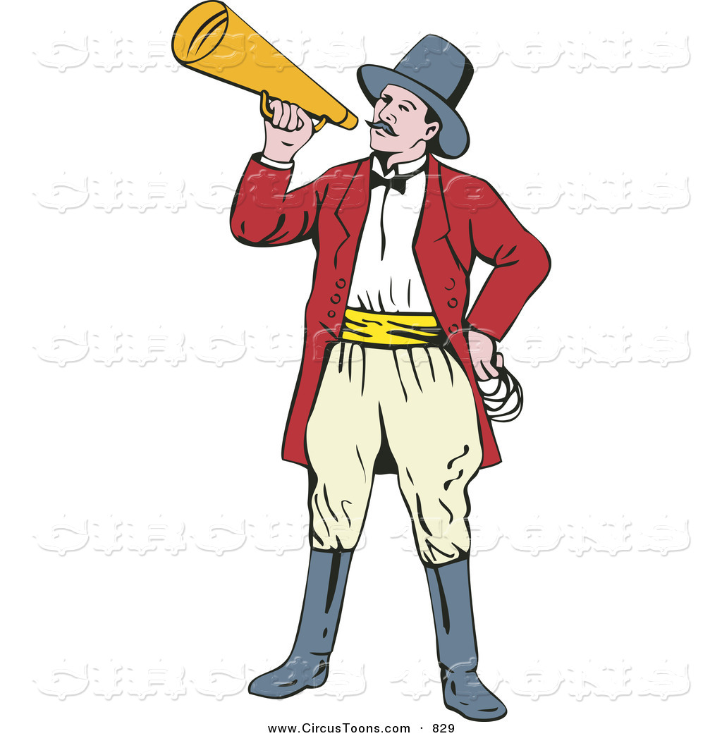 Circus Clipart of a Ringmaster Using a Bullhorn by.