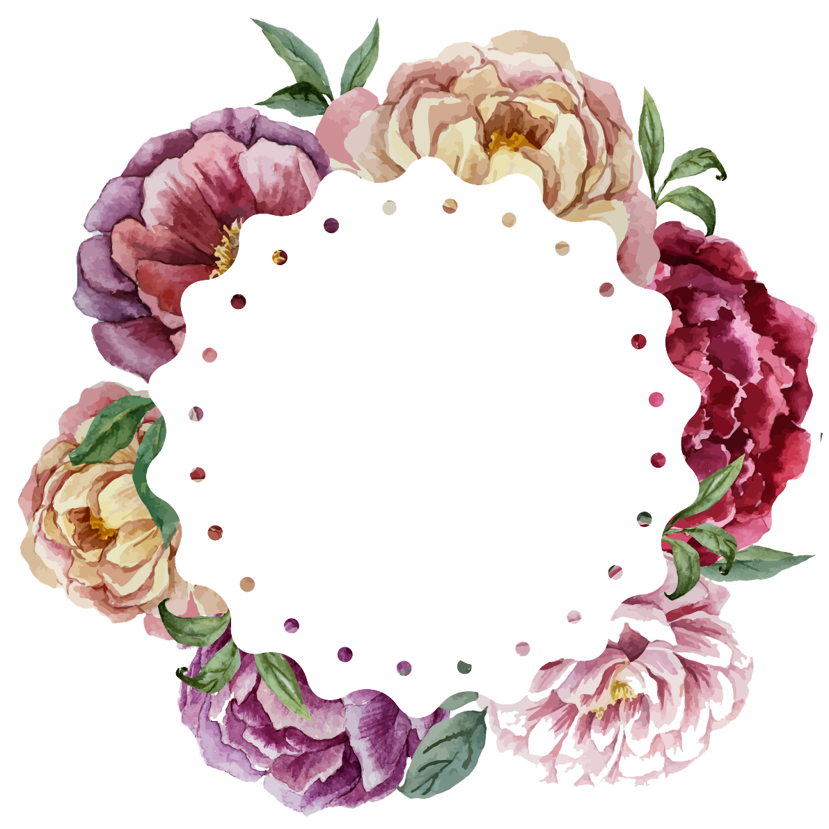 Watercolor painting Flower Wreath Wedding.