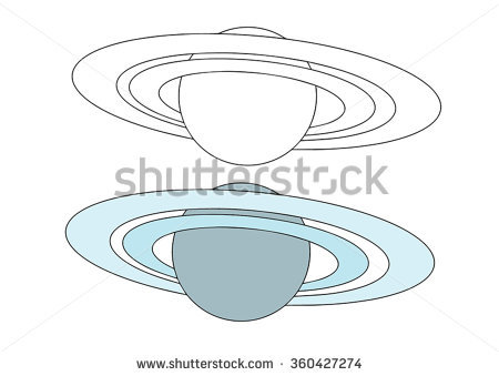 Vector Outline Saturn Planet Rings On Stock Vector 303428027.