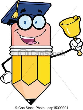 Vector Clipart of Pencil Teacher Ringing A Bell.