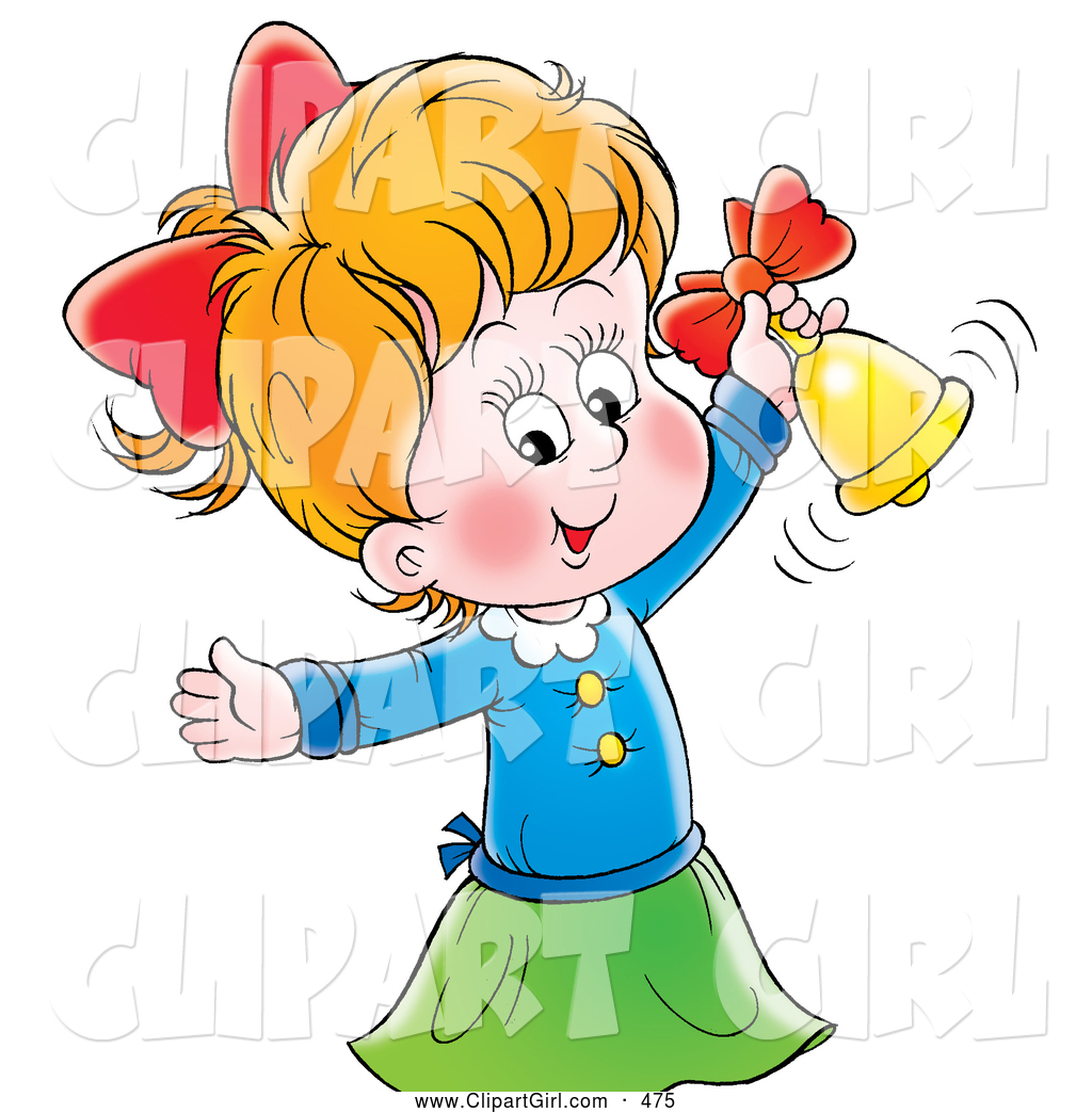 Clip Art of a Smiling Cute Little Girl Ringing a Golden Bell by.