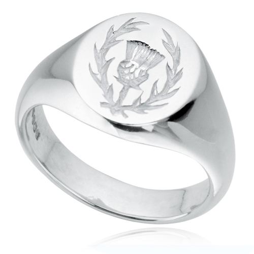 Thistle Signet Ring, Sterling Silver, Hallmarked.