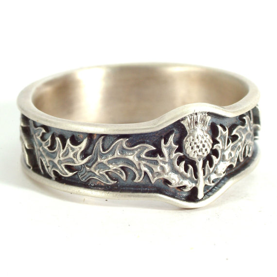 Scottish Thistle Jewelry 925 Sterling Silver Thistle Ring.