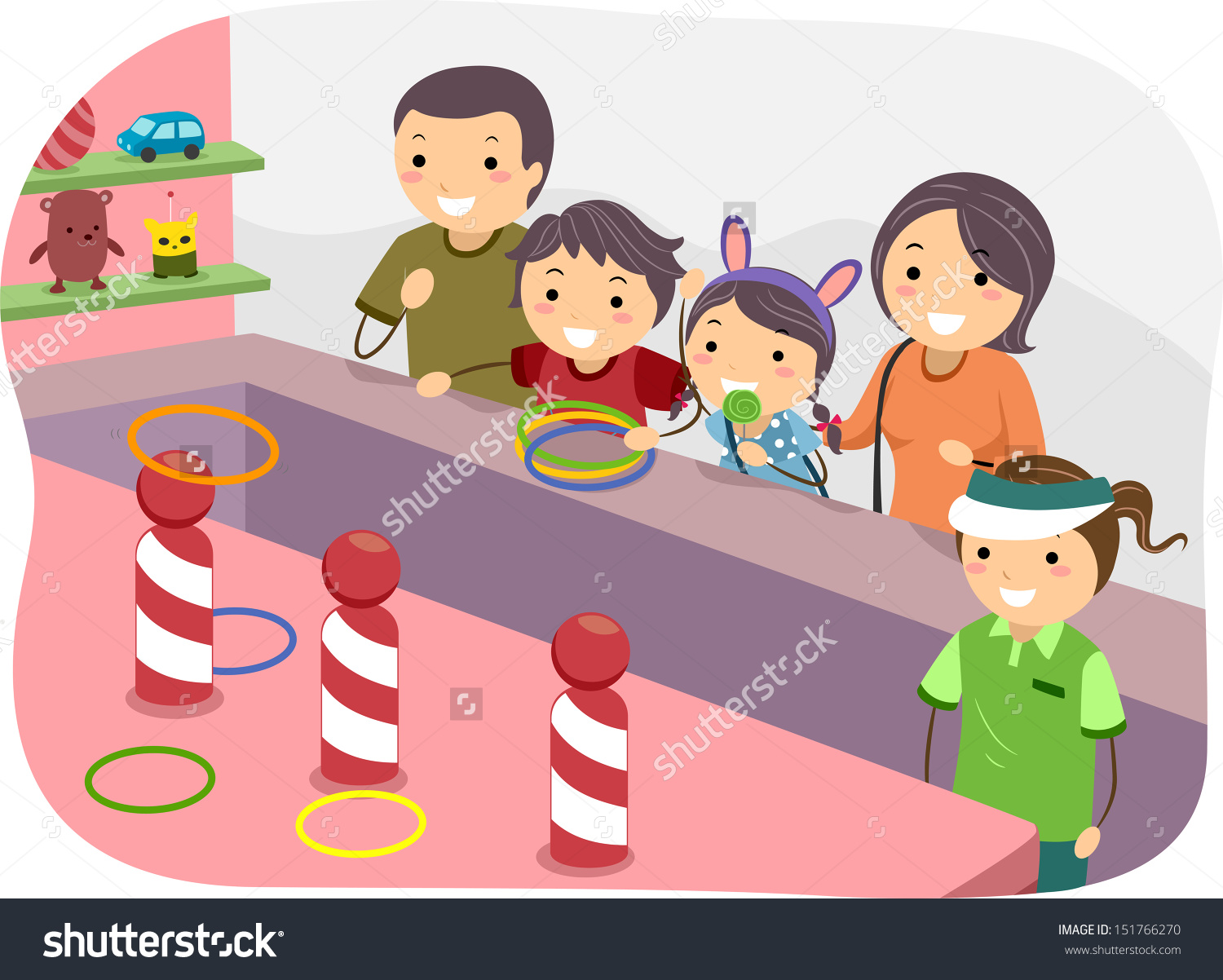 Illustration Stickman Family Playing Ring Toss Stock Vector.