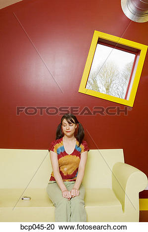 Stock Photography of Girl waiting for the phone to ring bcp045.