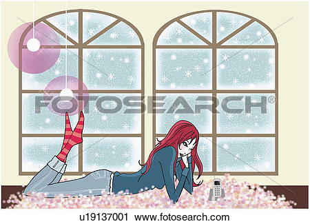 Clipart of Young woman on rug by window waiting for the phone to.