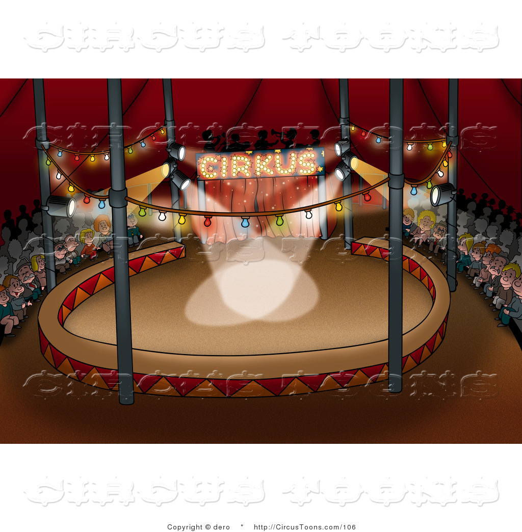 Circus Clipart of an Audience of People Waiting for a Circus Show.