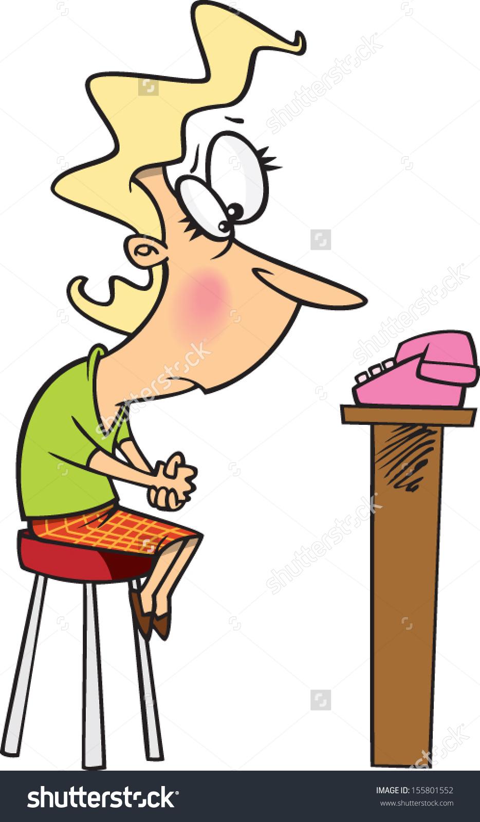 Cartoon Woman Waiting Phone Ring Stock Vector 155801552.