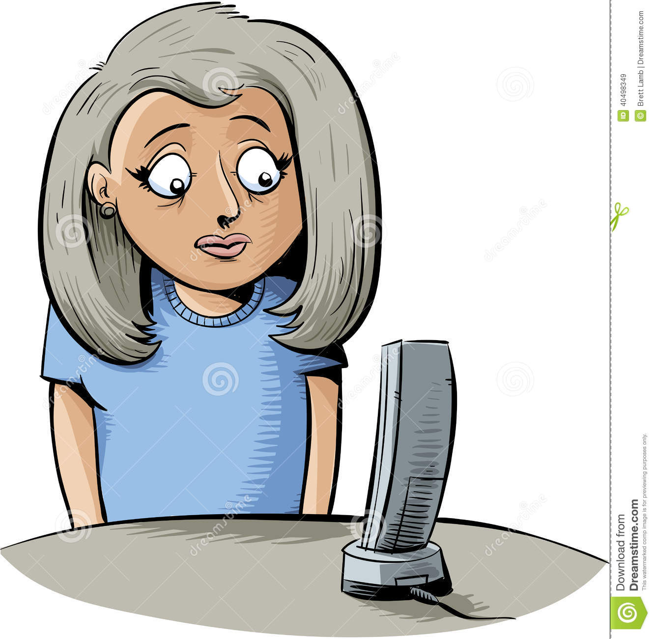 Waiting Phone To Ring Stock Illustrations.
