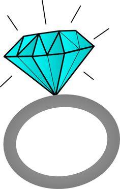 Blue diamond ring clipart.