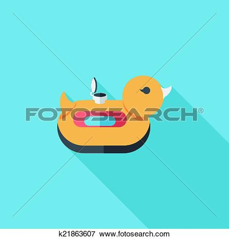 Clip Art of duck Swim ring flat icon with long shadow,eps10.