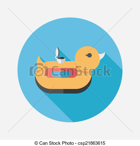 Vector Clip Art of duck Swim ring flat icon with long shadow,eps10.