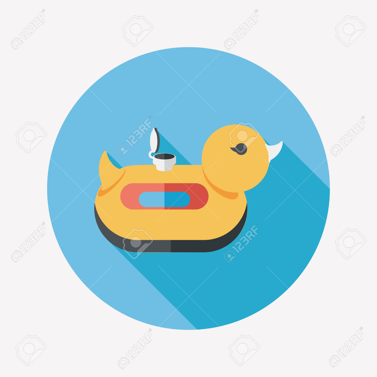 Duck Swim Ring Flat Icon With Long Shadow,eps10 Royalty Free.