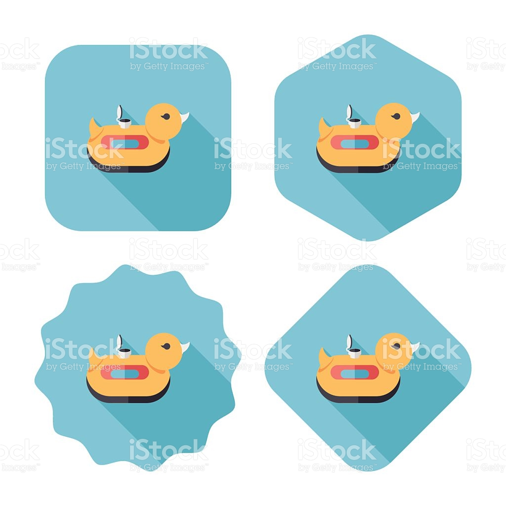 Duck Swim Ring Flat Icon With Long Shadoweps10 stock vector art.