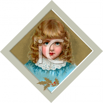 Royalty Free Clipart Image: Little Victorian Girl with Golden Ringlets.