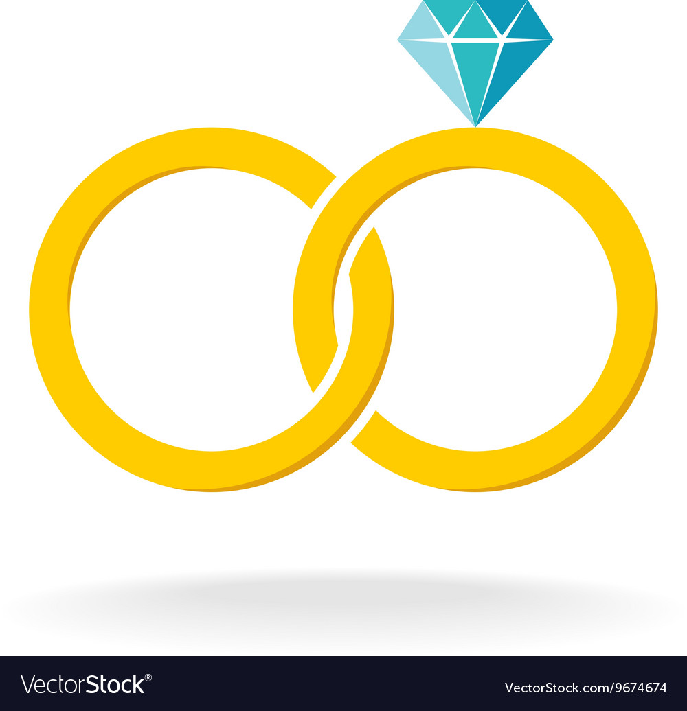 Wedding rings logo Two golden crossed rings with.