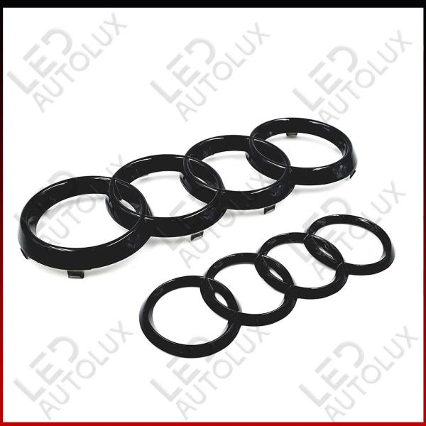 Details about Black Gloss Set Front Rear Grille Badge Rings Logo Emblem  Audi A4 B7 ABC Plastic.