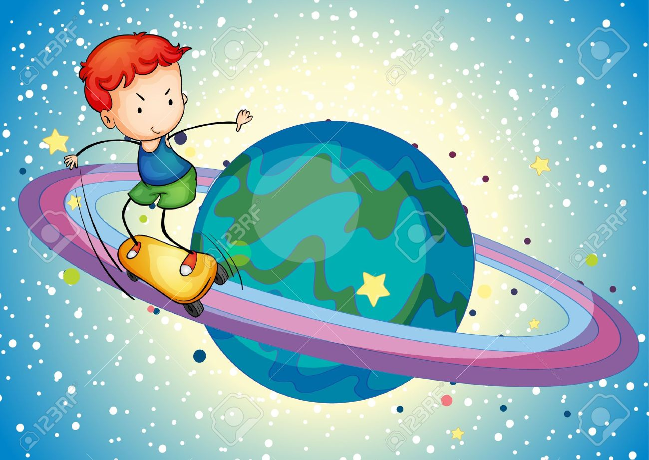 Illustration Of A Boy On A Planet Saturn Ring Royalty Free.