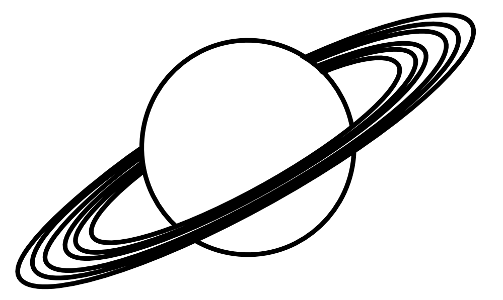 Planet with Rings Black White Line Art Scalable Vector Graphics.