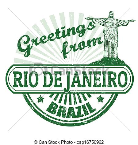 Clip Art Vector of Greetings from Rio de Janeiro stamp.