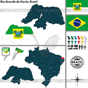 Map of Rio Grande do Norte, Brazil.