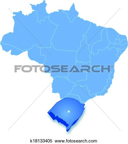 Clipart of Map of Brazil where Rio Grande do Sul is pulled out.