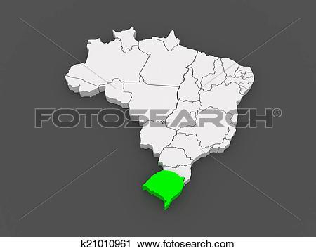 Clipart of Map of Rio Grande do Sul. Brazil. k21010961.