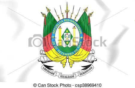 Stock Photography of Rio Grande do Sul Coat of Arms, Brazil. 3D.