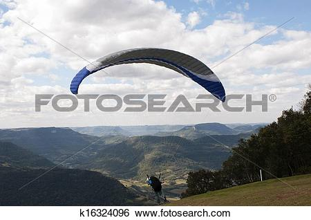 Stock Images of Taking off on Paragliding at Rio Grande do Sul.