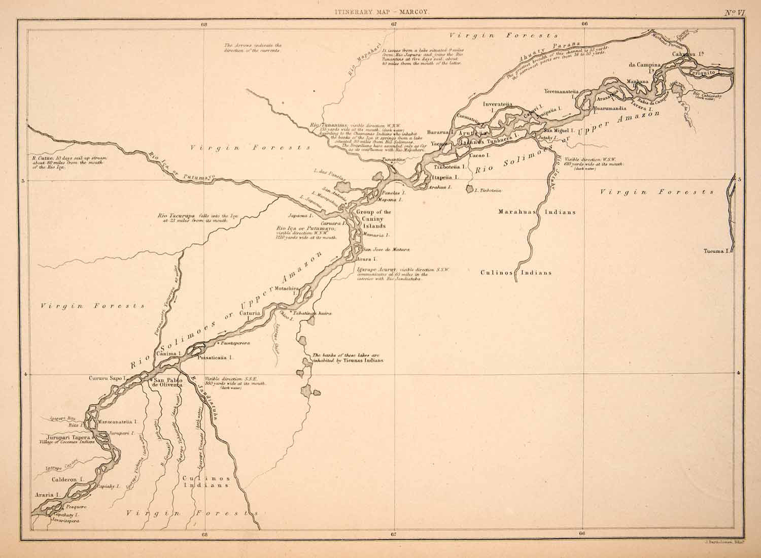 1875 Print Map Rio Solimoes Brazil Peru South America Upper Amazon.