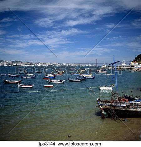 Stock Photo of 43 Portugal Lisbon Cacilhas Fishermen Boats And Rio.