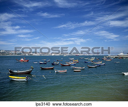 Stock Photography of 39 Portugal Lisbon Cacilhas Fishermen Boats.