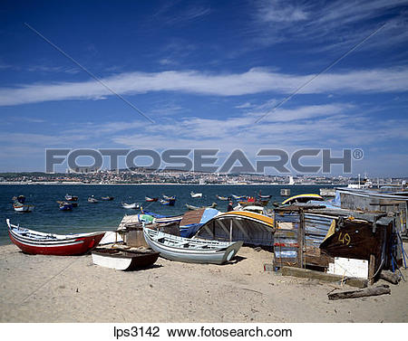 Stock Photo of 41 Portugal Lisbon Cacilhas Fishermen Boats And Rio.