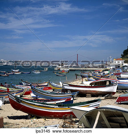 Stock Image of 44 Portugal Lisbon Cacilhas Fishermen Boats And Rio.