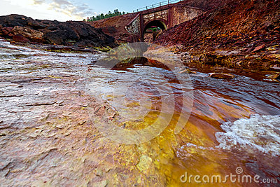 Rio Tinto River In Spain. Stock Photo.