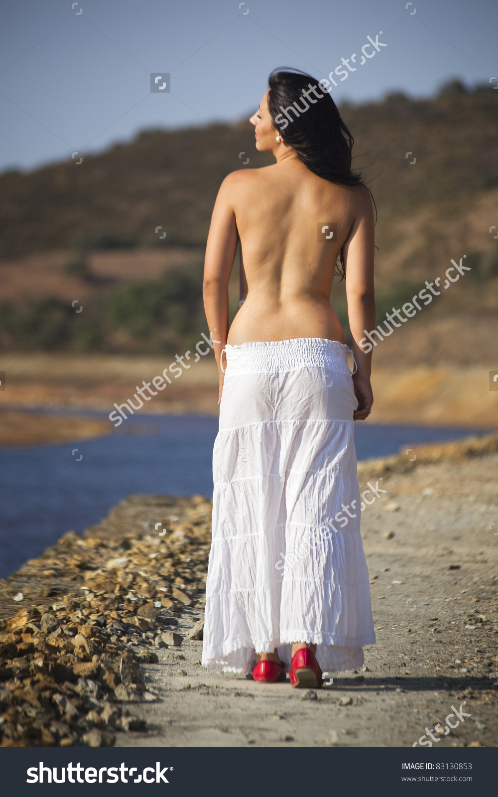 Young Romanian Woman In Nature In Rio Tinto, Spain Stock Photo.