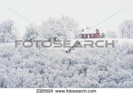 Stock Photo of John rankin house in winter;Ripley ohio united.