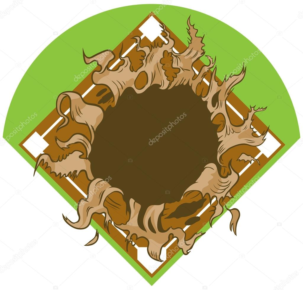 Hole Ripping out of Baseball Diamond Vector Cartoon Clip Art.