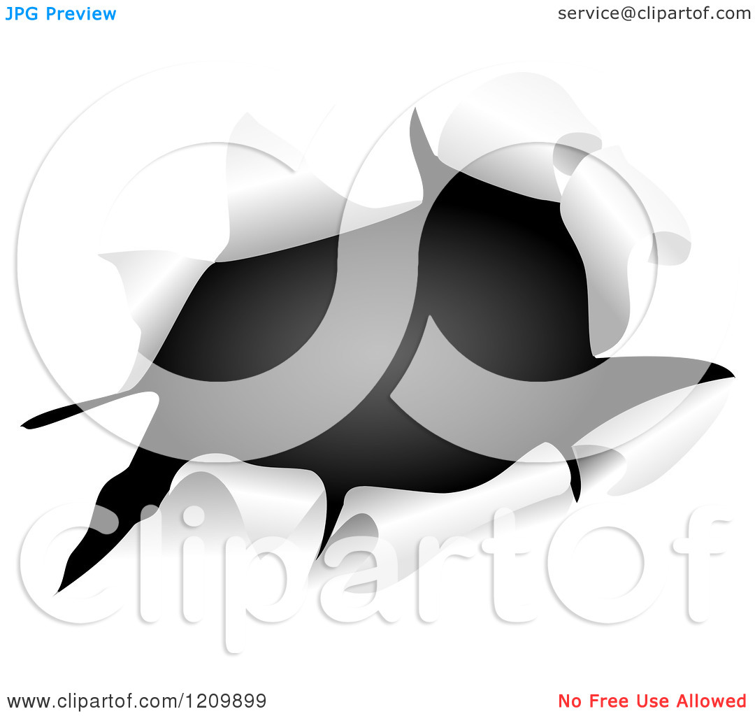 Clipart of Black Through a Ripped Hole.