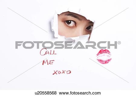 Pictures of Young woman peeking through ripped paper with text.