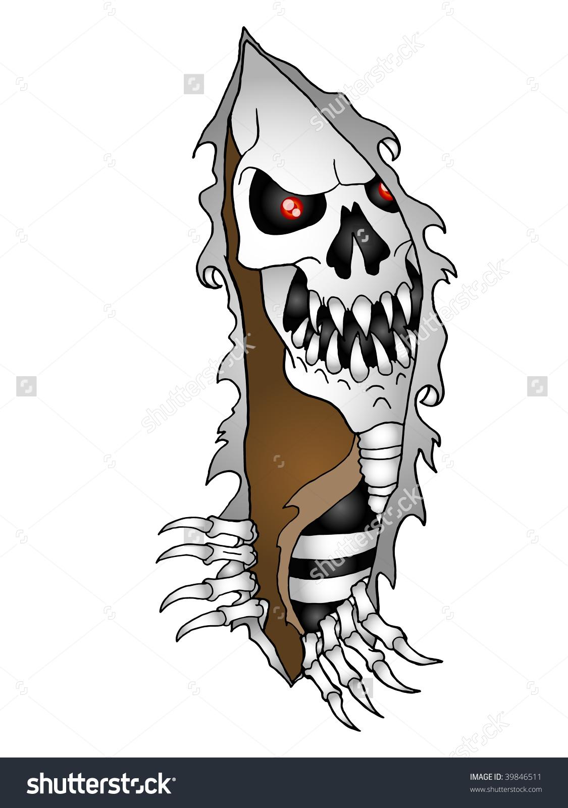 Hideous Skeleton Satan Face Grimace Pep Stock Illustration.