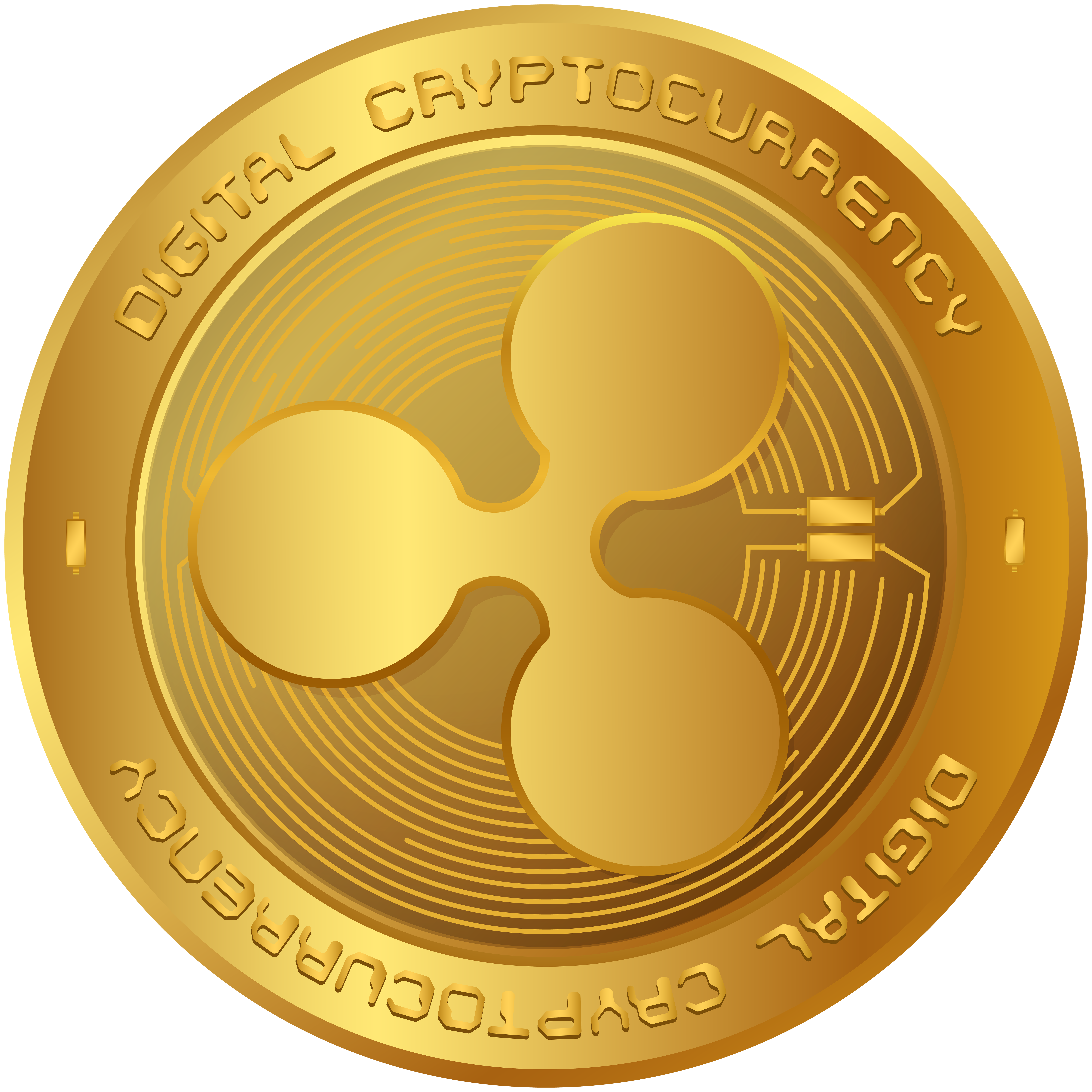 Ripple XRP Cryptocurrency PNG Clip Art Image.