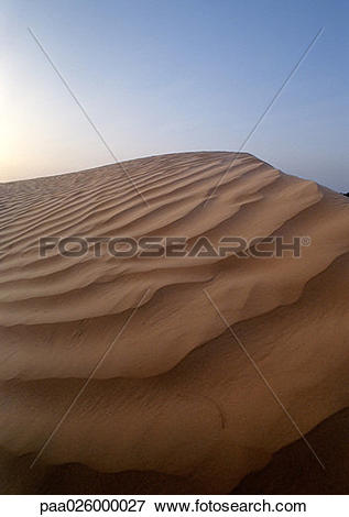 Picture of Tunisia, Sahara, rippled sand dune against sky.