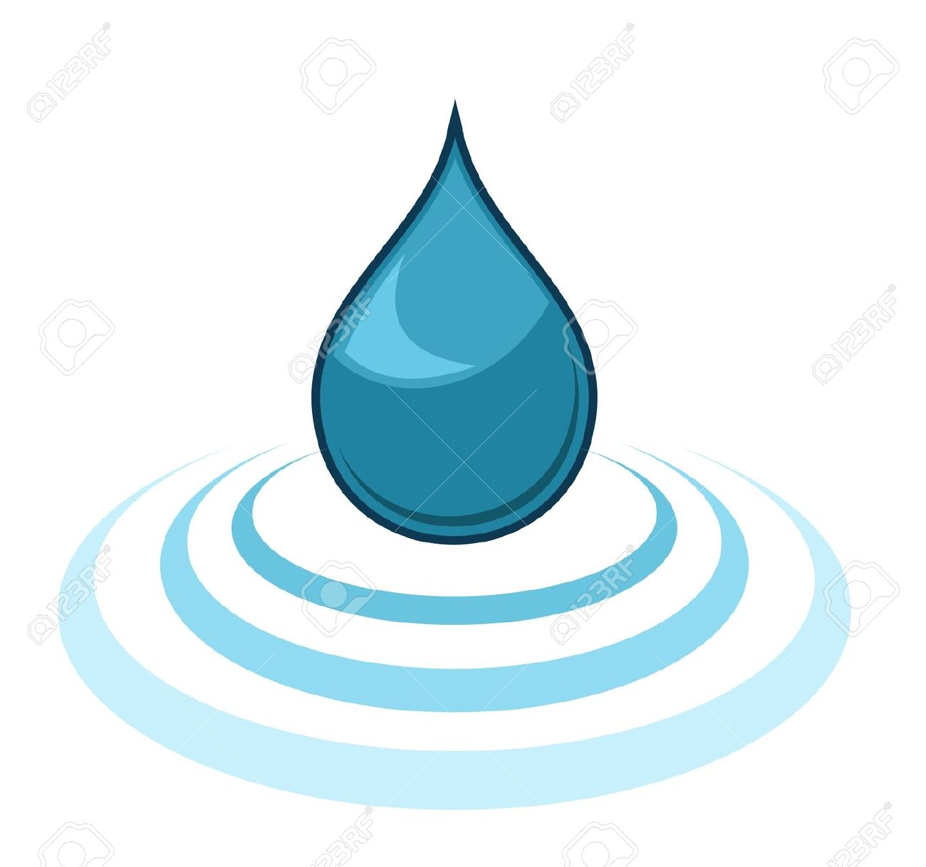 Water drop with ripple clipart.