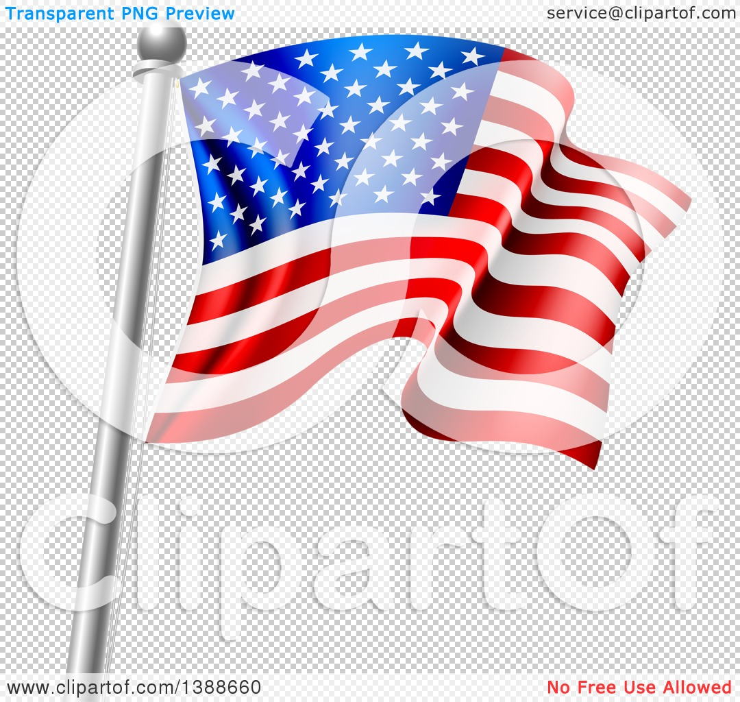 Clipart of a 3d Rippling American Flag on a Silver Pole.