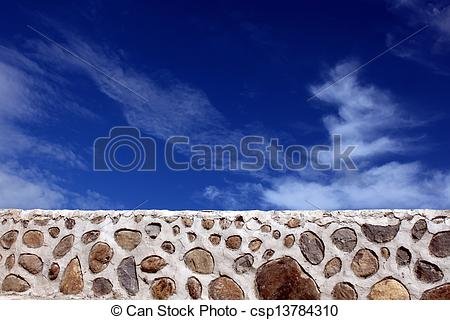 Stock Photography of Rip rap and Blue Sky.