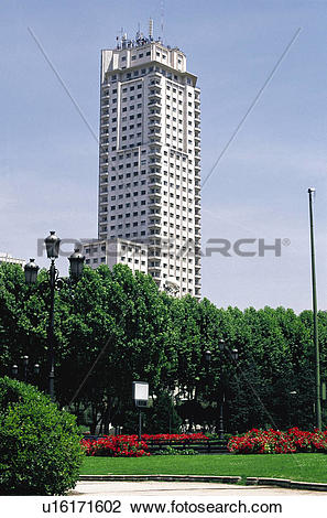 Stock Photo of Spain, Madrid, City, Town, High rise, Tower block.