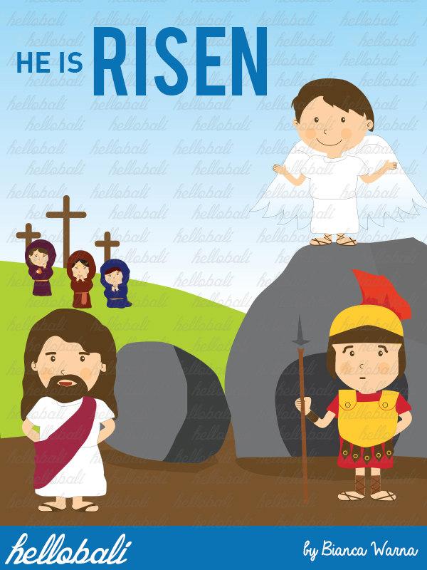 Jesus Risen Clipart. Sunday School Clip Art Cross.