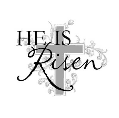 He is risen black and white clipart.